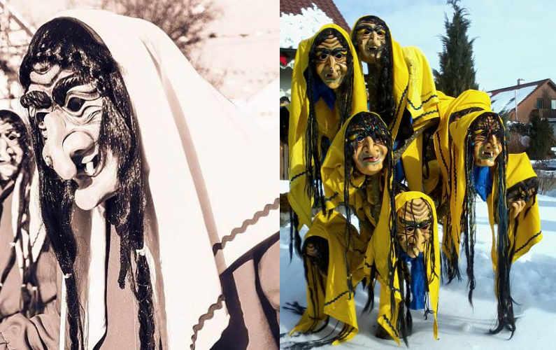 Hexenmasken sollen böse Wintergeister verjagen.