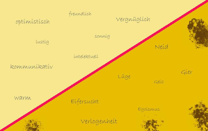 Eigenschaften, die man mit der Farbe Gelb verbinden kann.