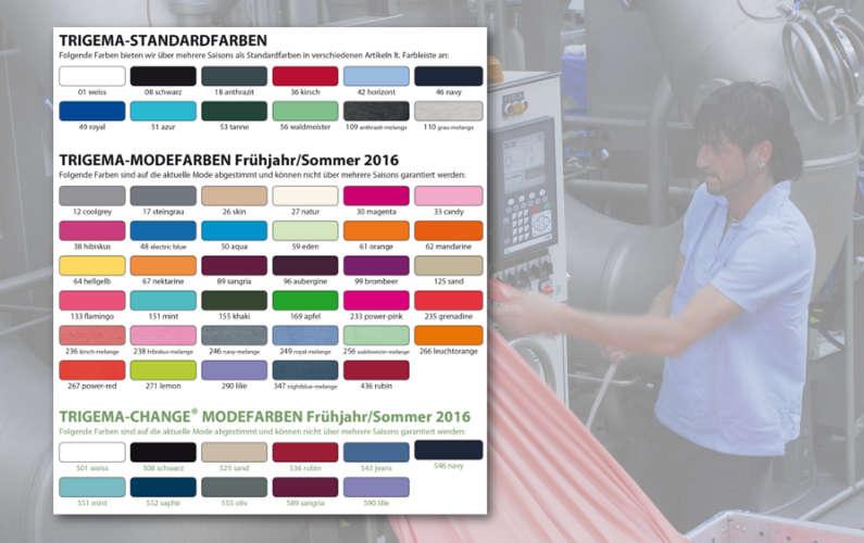 Farbkarte der aktuellen Frühjahr/Sommer-Kollektion