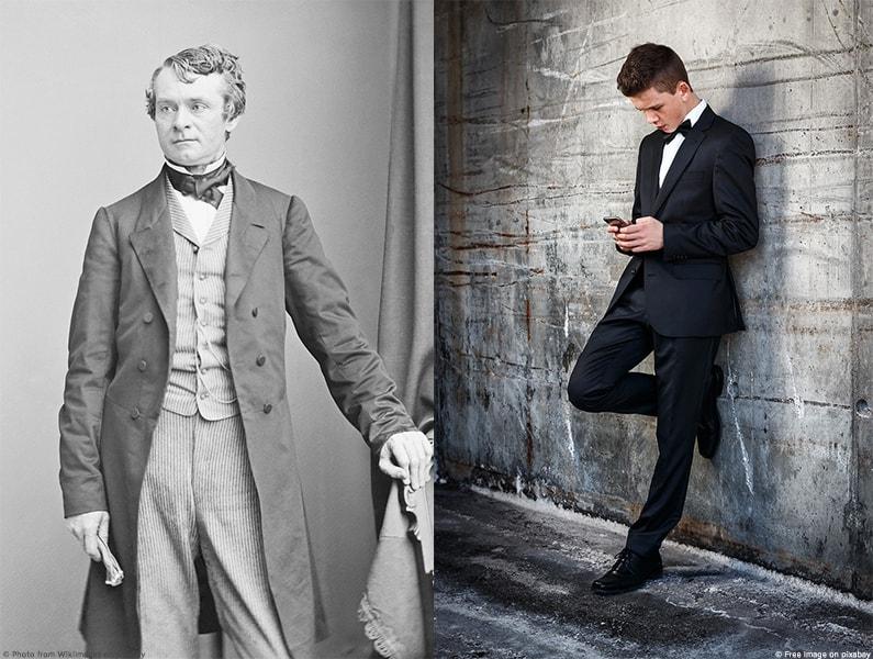 Vergleich zwischen zweier Anzüge von früher und heute.