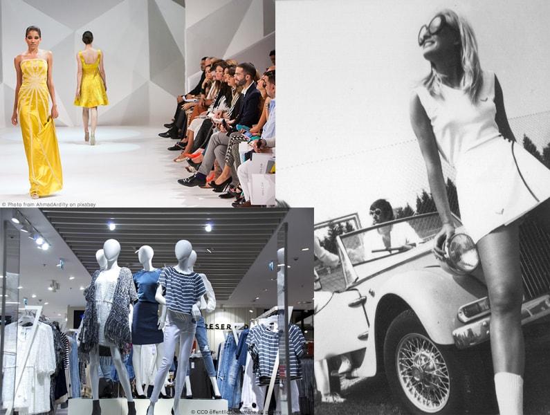 Vergleich der Mode von früher und heute.