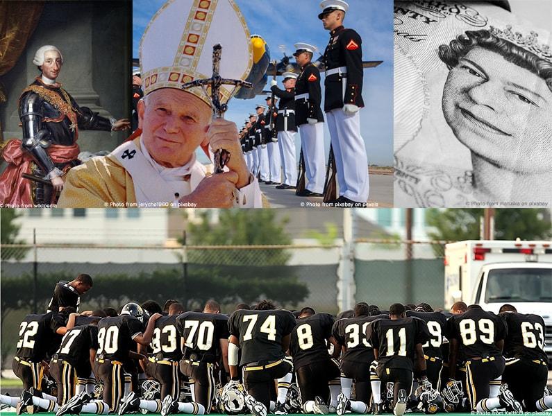 Unterschiedliche Bilder von Marine, Papst, Queen, König Karl III. von Spanien und einem Baseball Team.