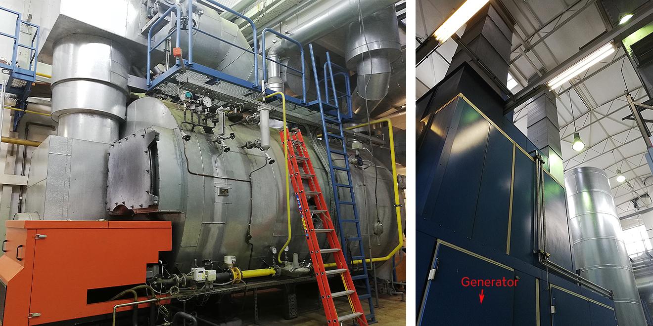 Abhitz Kessel macht aus Gas Dampf der zum Heizen genutzt wird.