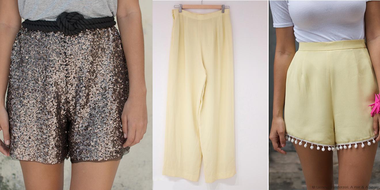 Styleupgrade - Aus langer alter Hose wird kurze elegante Short mit Glitzer
