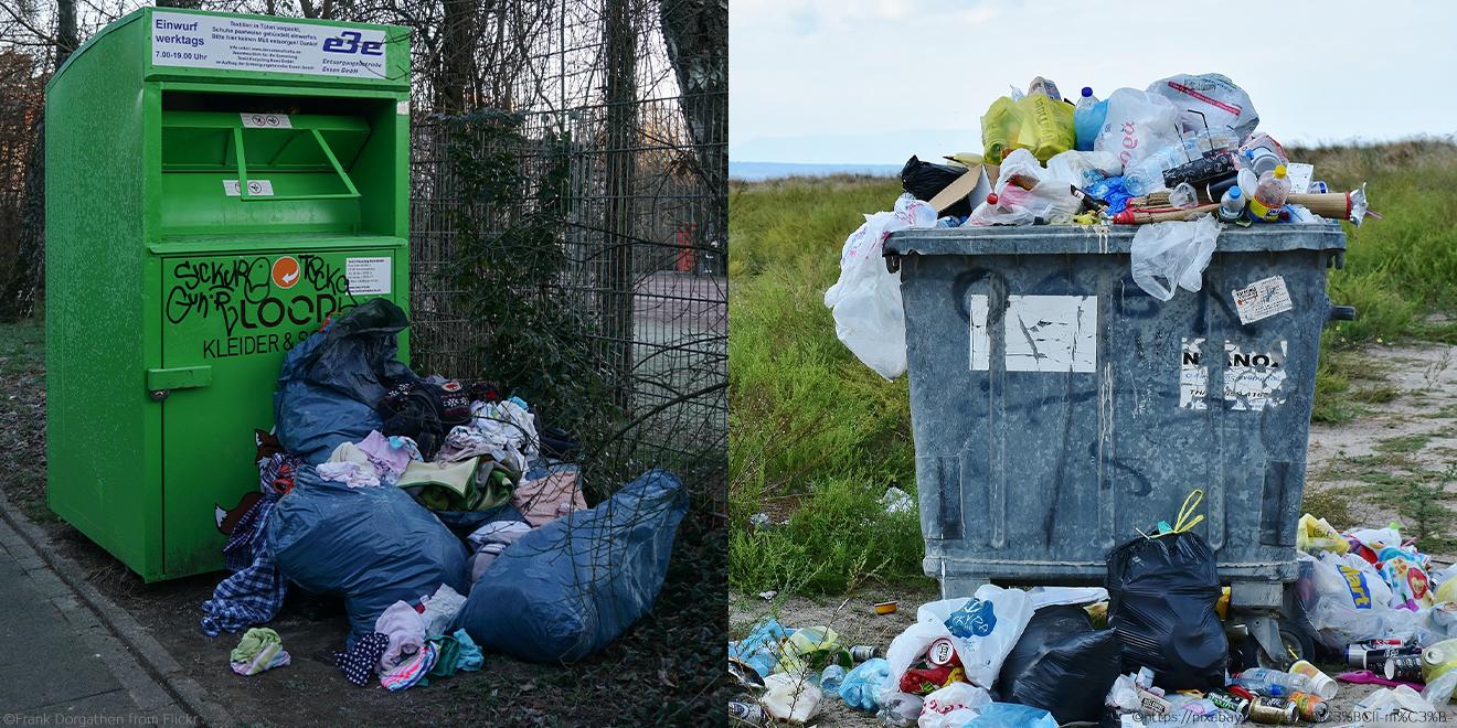 Überquellende Müllcontainer und Altkleider-Container