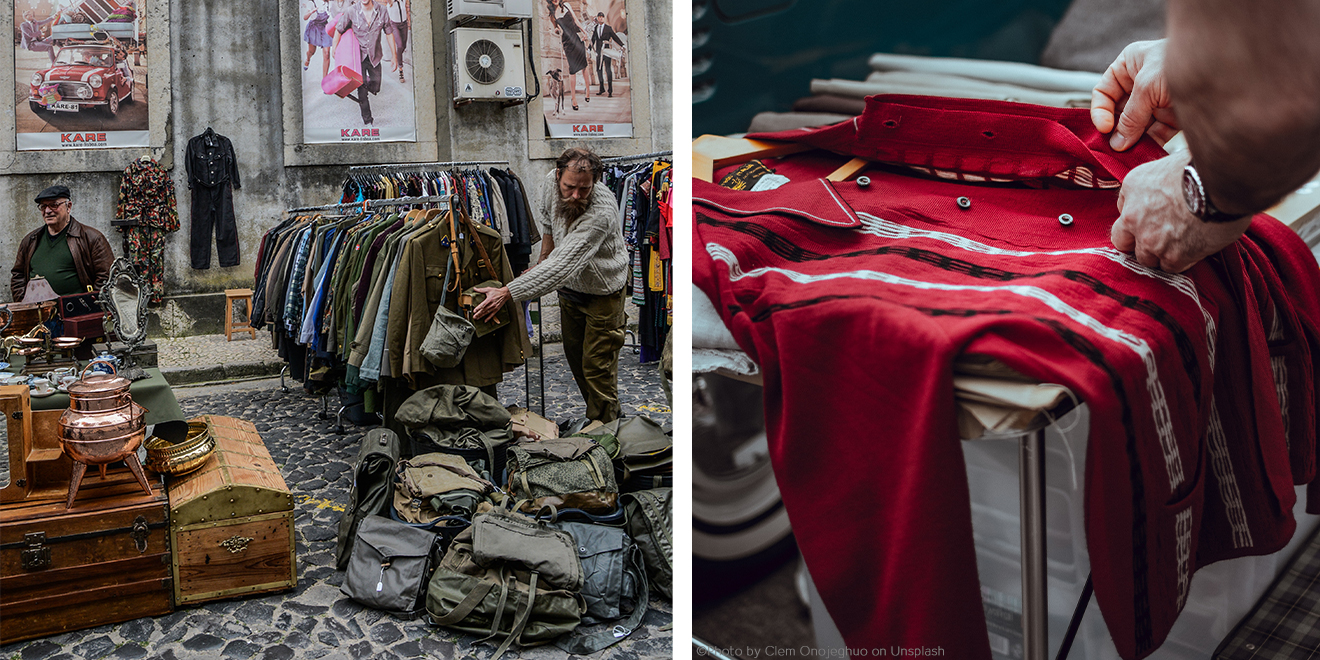 Verkaufen/Spenden von Kleidungsstücke auf dem Flohmarkt
