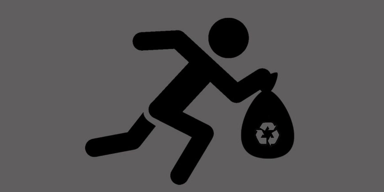 Das Piktogramm-Symbol für Plogging: Ein rennendes Männchen mit Müllsack.