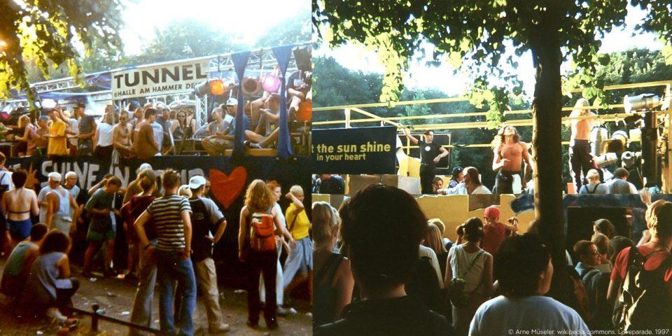 Die Jugend der 90er Jahre feiert auf der Loveparade zu Techno-Beats.