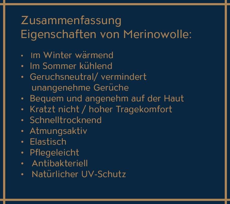 Die Eigenschaften von Merinowolle in einer Liste.