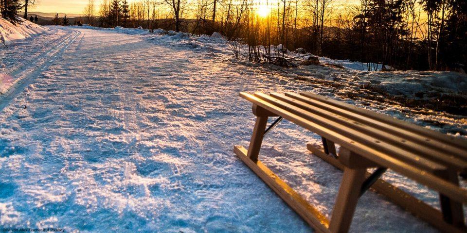 Schlitten liegt im Schnee