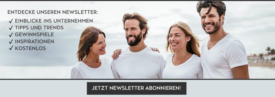 TRIGEMA Newsletter Banner mit glücklichen Menschen in weißen TRIGEMA Shirts