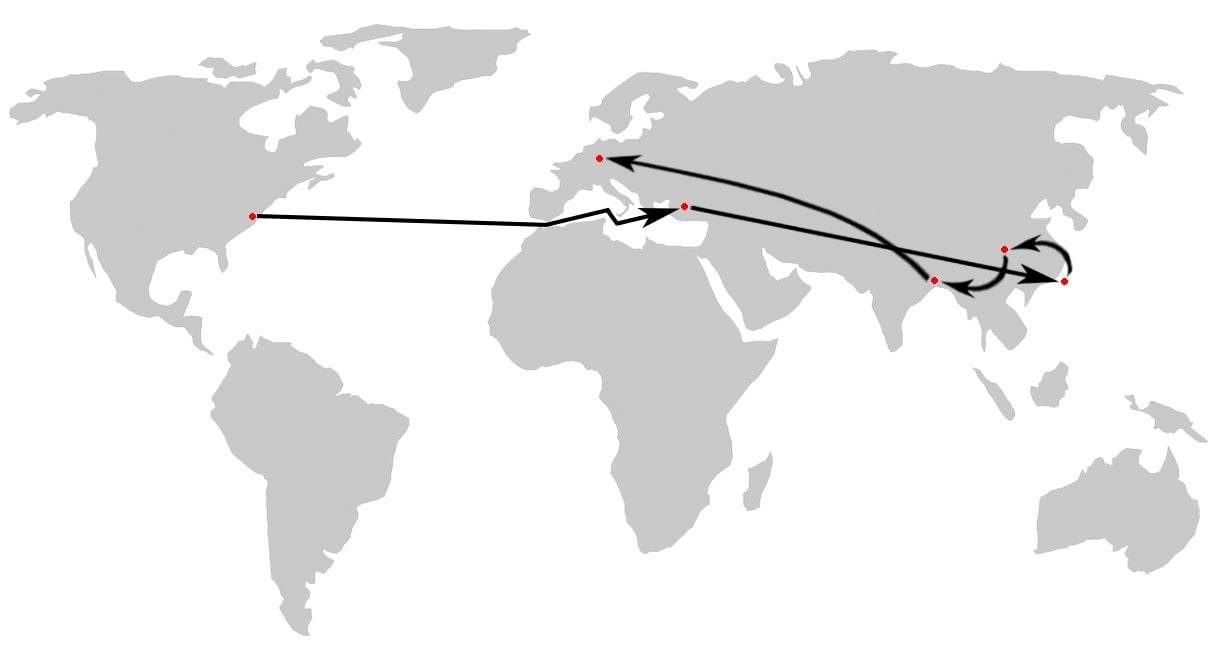 Der Weg eines T-Shirts aus dem gewöhnlichen Handel legt im Schnitt eine 3/4 Weltreise hin.